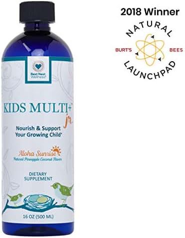 Best Nest Kids Liquid Multivitamin, Methylfolate (Folic Acid), Methylcobalamin, 100% Natural Whole Food Organic Blend, Digestive Enzymes, Liquid Multi Vitamins, 16 Oz Bottle, Best Nest Wellness