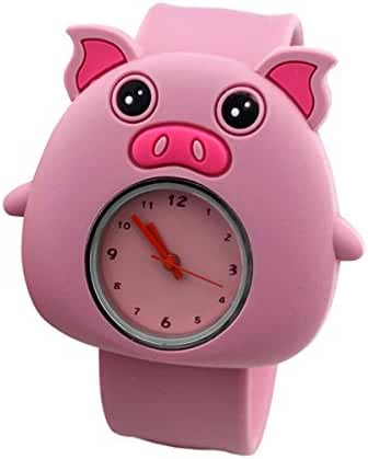 Cartoon Pink Pig Unisex Kids Watch Water-resistant Sports Watch Bendable Rubber Strap Wrist Watch