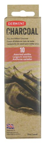 Willow Sketching Charcoal (Derwent Willow Charcoal Sticks, Assorted Widths, Pack, 10 Count (2302034))