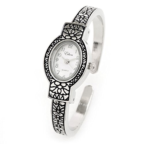 Silver Metal Western Style Decorated Oval Face Women's Bangle Cuff (Ladies Silver Western Style Watch)