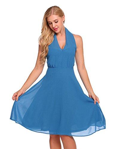 Licou Vintage Bifast Femmes Sans Manches D'une Partie De Swing Ligne Casual Robe Bleu Royal