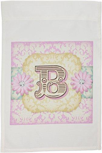 (3dRose fl_102834_1 Regal Pastel Mod Damask Monogram Initial-B Garden Flag, 12 by 18-Inch)