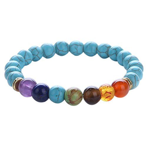 Botrong 1PC 7 Chakra Healing Balance Beads Bracelet Yoga Life Energy Bracelet Jewelry for Women Men Bracelet Elastic