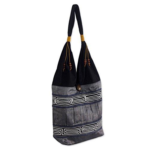 - NOVICA Dark Grey and Black Cotton Handmade Embroidered Shoulder Bag, Music'
