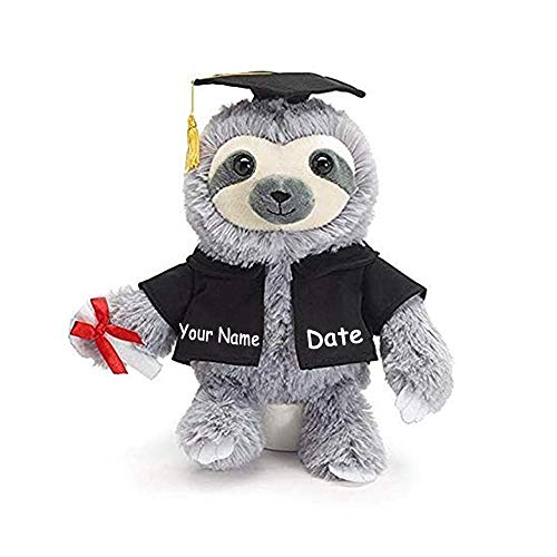 Burton & Burton Personalized Graduation Sloth with Diploma and Cap Plush Stuffed Animal Toy for Boys and Girls with Custom Name and Date (Optional) ()