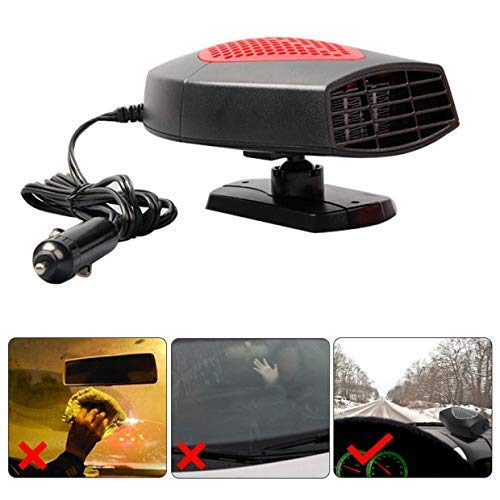 Portable Car Heater,Auto Heater Fan,Car Defogger, Fast Heating Quickly Defrosts Defogger 12V 150W Auto Ceramic Heater Fan 3-Outlet Plug in Cig Lighter (Red) by Ferryone