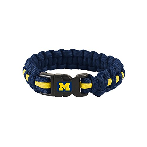 WinCraft Michigan Wolverines Official NCAA Adult S/M 8 inch Long Survival Bracelet by - Long Bracelet 8'