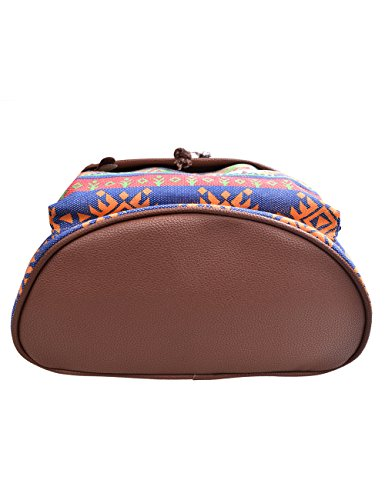 DGY - Moda mochila de lona y PU cuero con diseño casual para mujer Bolsa de Viaje Mochila de a diario - E00117 Beige Naranja-2