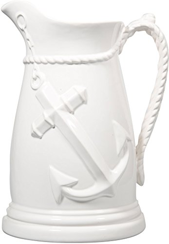 - Nautical Ceramic Pitcher- anchor Embossed Jug With Rope Like Handle (81 Oz, White)
