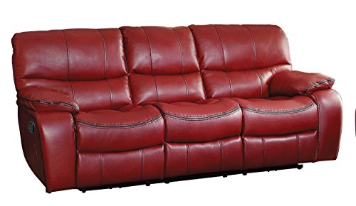 Homelegance Pecos Modern Design Double Reclining Sofa Leather Gel Match, Red