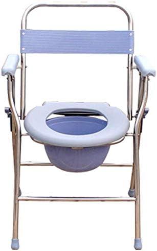 JFZCBXD Folding KopfendeCommode Sitz, beweglicher Potty für Erwachsene Toilette für Camping, große Kapazitäts-Potty, Edelstahl
