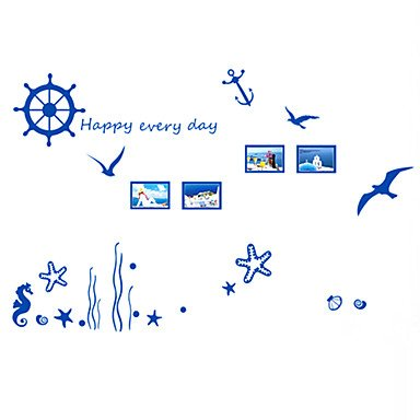 XGHC Blue Ocean Anchor With Rudder Happy Every Day Wall Stickers PVC Sea Horse Wall Decals DIY (Everyday Inkjet)