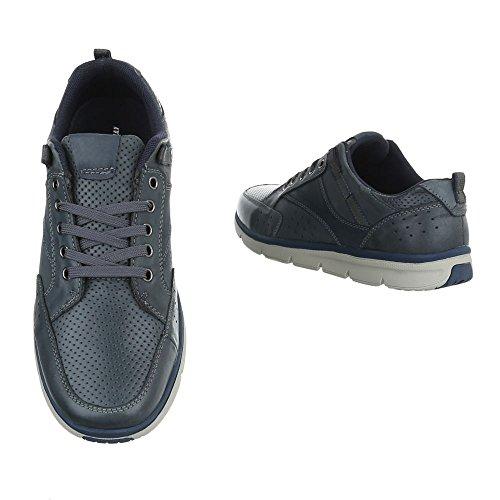 Ital-Design - Zapatos Planos con Cordones Hombre Blau 059132