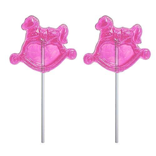 Girl Baby Shower Pink Rocking Horse Hard Candy Lollipop 100% USA Made