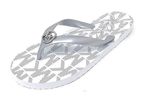 Michael Kors MK Rubber Flip Flops, Silver/White (11 M US)