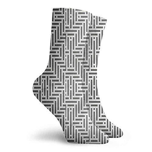 Men Novelty Geometric Short Lines Abstract Hiking Walking Socks -