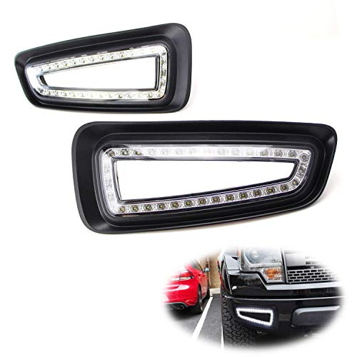 iJDMTOY Lower Bumper White LED Daytime Running Lights For 10-14 Ford Raptor SVT, Direct Fit on Bumper Opening, Powered by (66) 15W SMD LED Lights