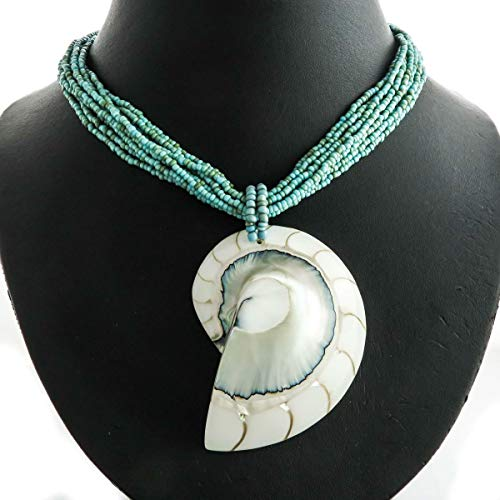 2 5/8'' Huge White Nautilus Shell Pendant Turquoise Beads Necklace YE-1562 ()