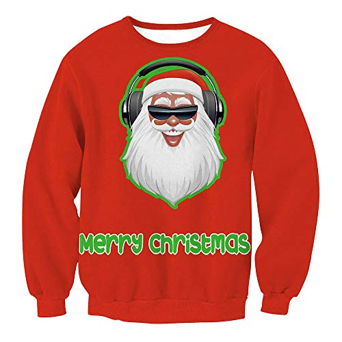 kaifongfu Christmas Merry Sweatshirt Tops O-Neck Womens Pullover Blouse(Red,S) ()