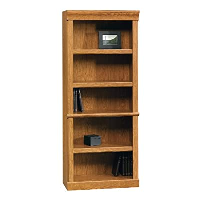 Sauder Orchard Hills Library, Carolina Oak finish - Three adjustable shelves Enclosed back panel has cord access Quick and easy assembly with patented slide-on moldings - living-room-furniture, living-room, bookcases-bookshelves - 411iTdZHiZL. SS400  -