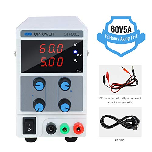 DC Power Supply 60V 5A Voltage and Current Output Adjustable Lab Test Power Supply 3 Digital (0-60V 0-5A)