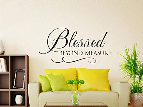 (shbian Decorative Wall Stickers Removable Vinyl Decal Art Mural Home Decor Blessed Beyond Measure Bible Verse Quote for Living Room Bedroom)