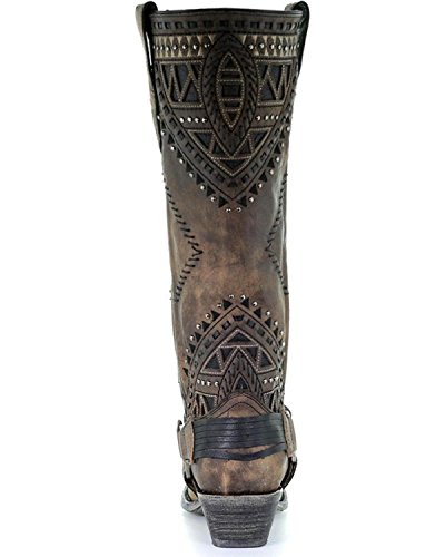 Corral Womens Affligé Inlay Clouté Botte Cowgirl Snip Toe - A3594 Marron