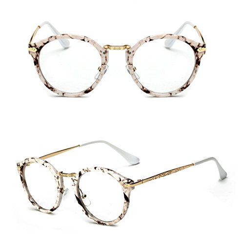 Doober Vintage Men Women Eyeglass Round Frame Clear Full Rim Spectacles Eyewear Optical (Stone Pattern, - Sunglasses Spectacle