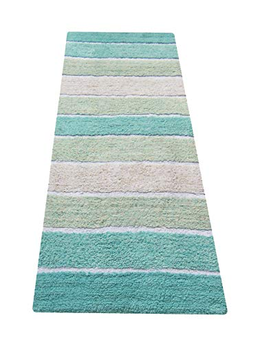 Runner Bath (Chardin home Cordural Stripe Bath Runner, Turquoise with Latex Spray Non-Skid Backing, 24