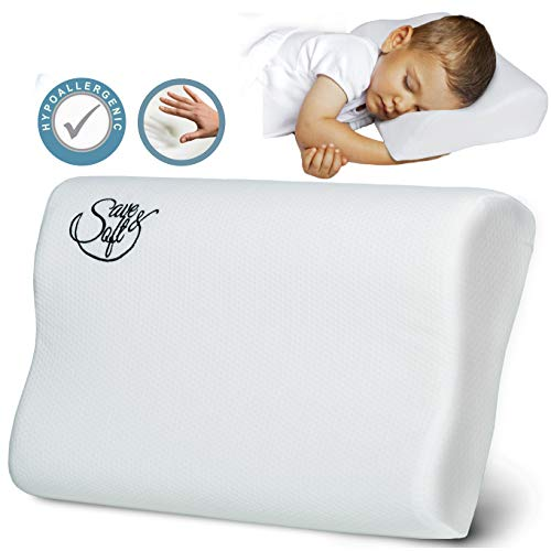 Memory Foam Pillow - Orthopedic Pillow for Women Kids Prevents Back Neck Pain + Free Bamboo Washable Cover Aloe Vera Back Stomach Side Sleepers - Aids Cervical Pain Soreness (B Shape, Small)