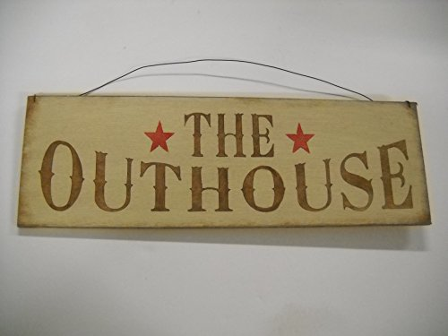 Outhouse Bath Decor (The Outhouse Country Bathroom Hand Stenciled Wooden Wall Art Sign Bath Decor)