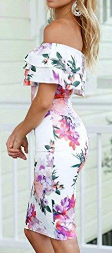 Cromoncent Femmes Sexy Volants Imprimé Floral Au Large De Robes Midi Épaule Blanc