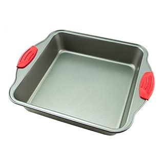 "Cake Pan | Non-Stick Steel 8-Inch Square Baking Pan by Boxiki Kitchen | Durable, Convenient, Premium Quality No-Stick Baking Mold Cookware | Brownie Pan 8"" x 8"" x 2"""