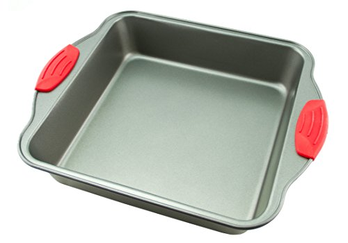 "Cake Pan | Non-Stick Steel 8-Inch Square Baking Pan by Boxiki Kitchen | Durable, Convenient, Premium Quality No-Stick Baking Mold Cookware | Brownie Pan 8"" x 8"" x 2"", w/ Red Silicone Handles"