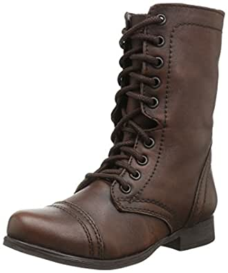 Unique Brown Womens Couture Shoes | Brown Round Toe Lace Up Combat Military Army Womens Flat Ankle ...