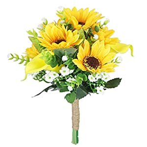 Lily Garden Artificial Calla Lily Sunflower and Peony Flower Wedding Bouquets (Bridesmaid)