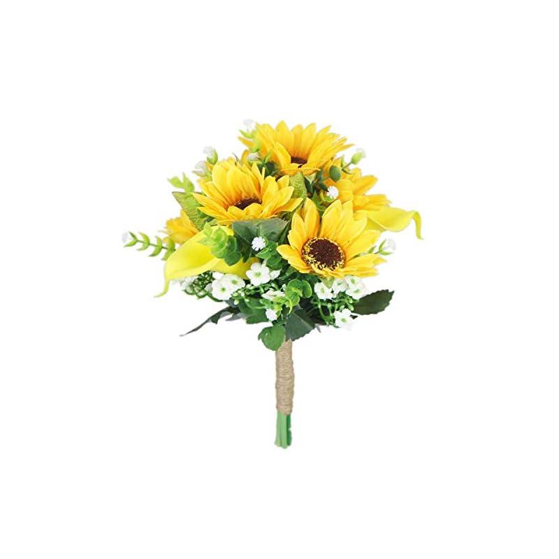 silk flower arrangements lily garden artificial calla lily sunflower and peony flower wedding bouquets (bridesmaid)