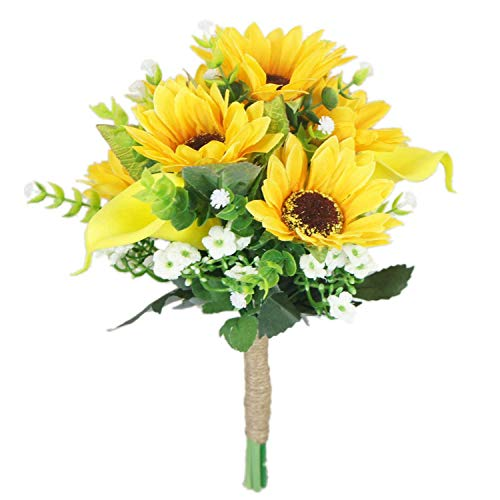 Lily Garden Artificial Calla Lily Sunflower and Peony Flower Wedding Bouquets (bridesmaid )