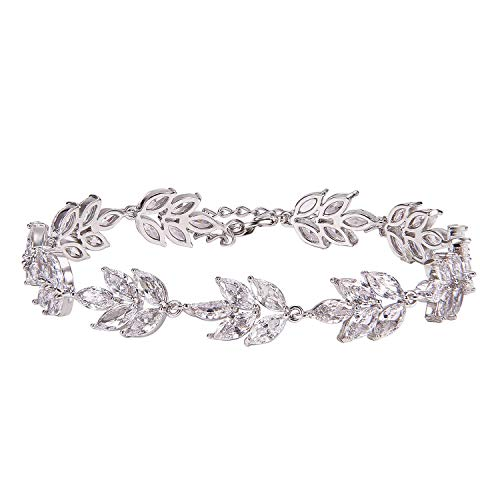 SWEETV Wedding Bridal Bracelet for Brides,Bridesmaid-Crystal Cubic Zirconia Bracelet Leaf Vine Vintage Style, Silver]()