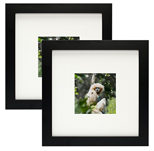 Golden State Art, Simple and Stylish Picture Frame with Ivory Color Mat & Real Glass (Set of Two 8x8, Black)