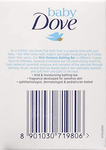 Baby Dove Rich Moisture Bar- Hypoallergenic, No Parabens, No Sulphates, No Phthalates 75 g (Pack Of 3) –
