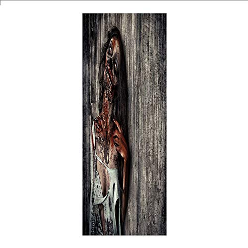 3D Decorative Film Privacy Window Film No Glue,Zombie Decor,Angry Dead Woman Sacrifice Fantasy Mystic Night Halloween Image Decorative,Dark Taupe Peach Red,for Home&Office ()
