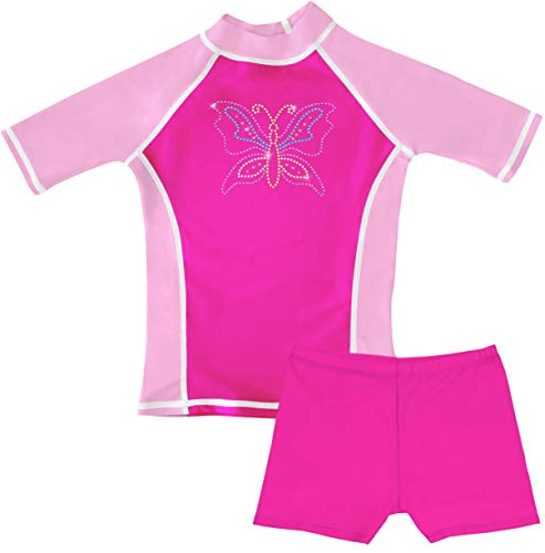 Protective Wing - grUVywear Girls Rashguard and Shorts Swimsuit Set UPF 50 Sun Protective Swimwear - Sparkling Wings | Small / 5-6