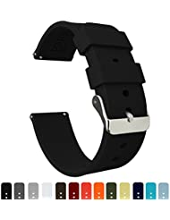 Barton Silicone Watch Bands - Quick Release Straps - Choose Color & Width - 16mm, 18mm, 20mm, 22mm, 24mm - Black 20mm