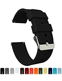 BARTON Silicone Watch Bands - Quick Release Straps - Choose Color & Width - 16mm, 18mm, 20mm, 22mm, 24mm - Black 22mm