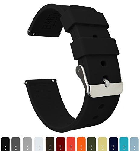 BARTON Silicone Watch Bands - Quick Release Straps - Choose Color & Width - 16mm, 18mm, 20mm, 22mm - Black 22mm Black Classic Watch Band