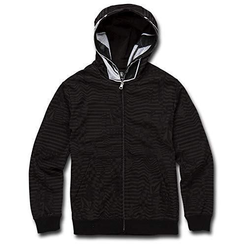 Volcom Big Boy's Cool Stone Full Zip Hooded Sweatshirt, Black, Medium (Boys Skateboard Hoodie)