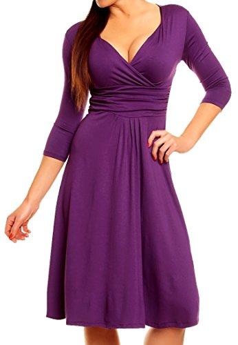 Zeta Ville - Midi Vestido Fruncido Delantera Cruzada - Para Mujer - 282Az (Púrpura, EU 46, 3XL)