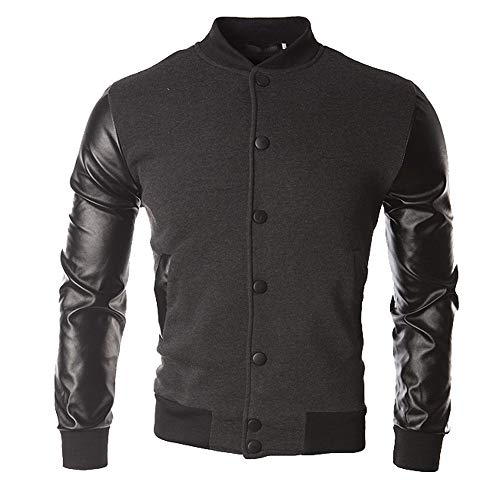 Price comparison product image Corriere Big Promotion! Jacket Coat for Men Fall Winter Athletic Leather Patchwork Sportswear Mens Button Outwear