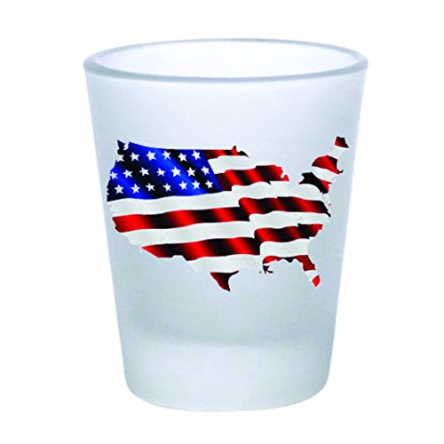 Shot Glass - American Flag Map - Frosted (2oz)
